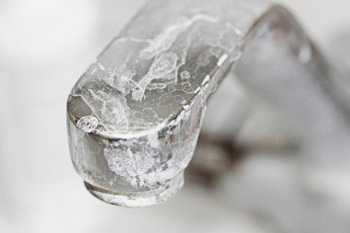 Hard Water Deposits on Faucet
